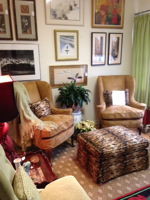 Baker Wingback Chairs with Animal Print Ottoman
