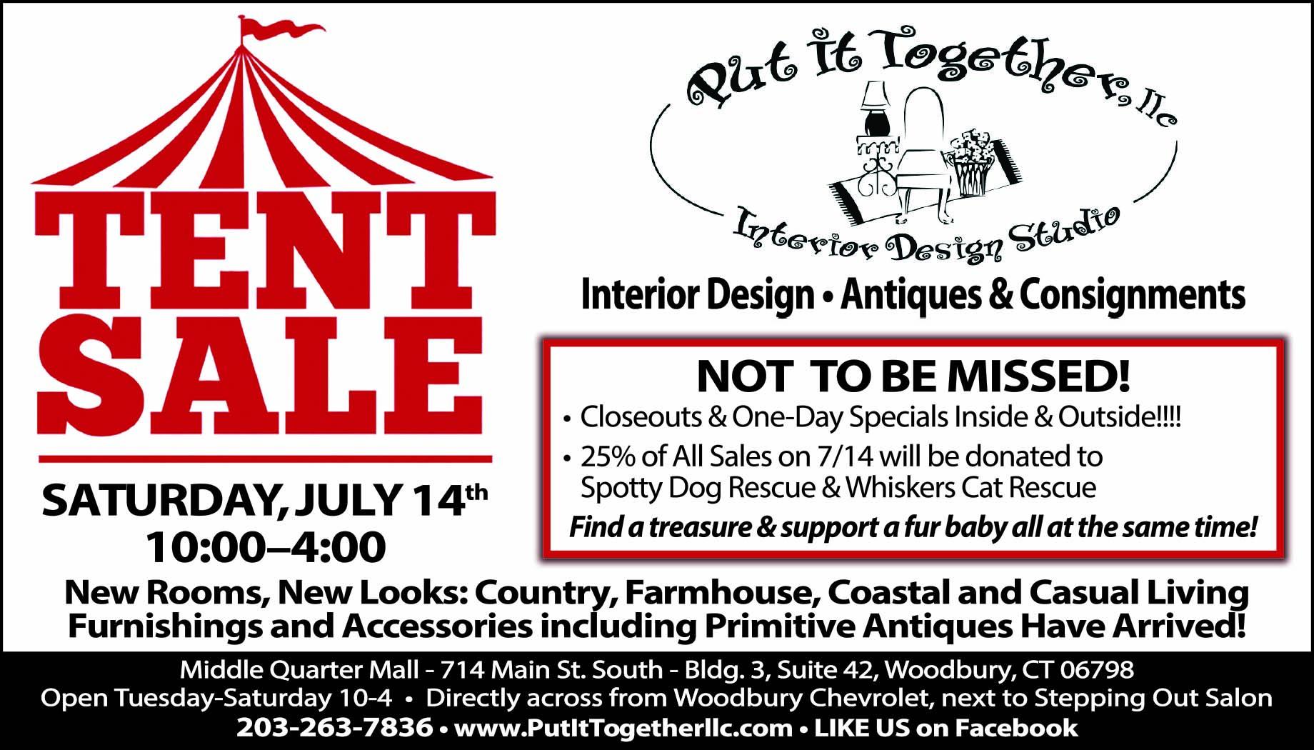 TENT SALE – SATURDAY, JULY 14 (10:00 – 4:00)